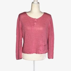 J. Jill Pink Sweater 2-Button with Pocket Petite
